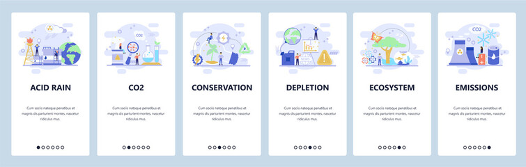 Mobile app onboarding screens. Earth pollution, co2 gas emission, save the planet, nature conservation. Vector banner template for website and mobile development. Web site design flat illustration