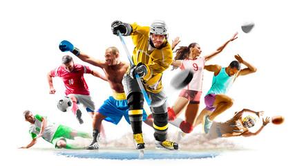 Wielo- sport szkoły wyższa futbolowej boksu piłki nożnej siatkówki lodowego hokeja bieg na białym tle