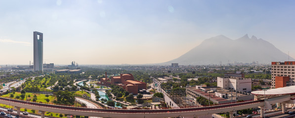 MONTERREY, NUEVO LEON / MEXICO - July 11, 2019: A panoramic view of the city of Monterrey during the day.