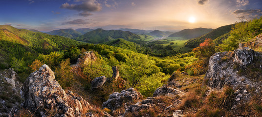Mountain landscape panorama at spring at sunset