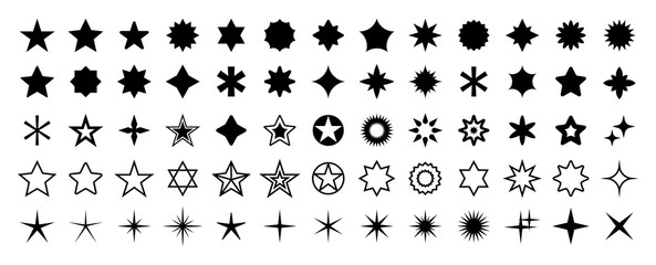 Stars set of 65 black icons. Rating Star icon. Star vector collection. Modern simple stars. Vector illustration.