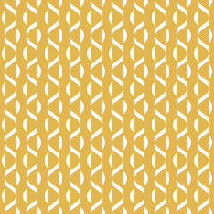 Vector minimalist geometric seamless pattern with small wavy shapes, curved lines, stripes, waves. Simple abstract minimal background texture in yellow and beige color. Modern repeat design for decor