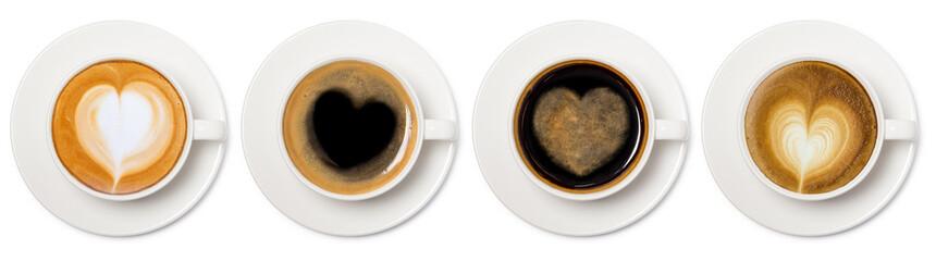 asortyment filiżanka kawy z kolekcji serca widok z góry widok na białym tle.