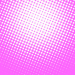 Magenta and white pop art background in retro comic style with halftone dots design isolated