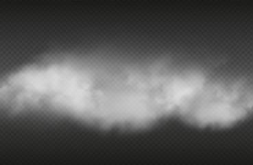 Efekt dymu Wektor realistyczny dym lub na na białym tle na przezroczystym tle. Ilustracja chmura przejrzysty dym, papieros parowy lub cygaro