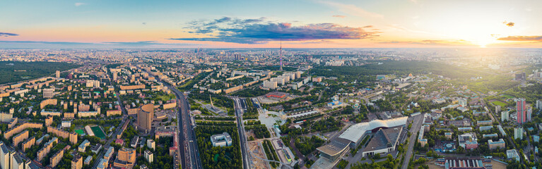 Aerial view of Moscow over the VDNKh