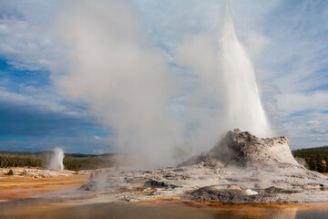 Castle Geyser and Beehive Geyser erupting simultaneously in Upper Geyser Basin, Yellowstone National Park, Wyoming