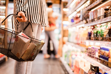 Women choosing products in supermarkets, ready-to-eat food, shopping