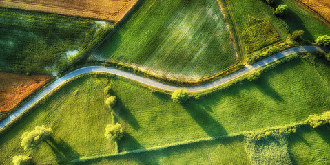 Drone aerial view - windy road in summer