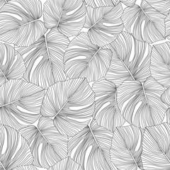 Monochrome monstera leaves seamless pattern. Tropical pattern,