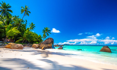 Typical beach in Seychelles with granite rocks