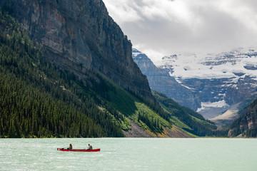 People Kayak in Lake Louise