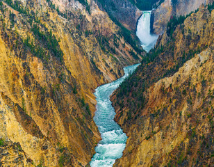 The Grand Canyon of the Yellowstone with the Lower Falls in the background and the Yellowstone river underneath, Yellowstone national park, Wyoming, USA.