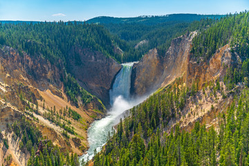 The majestic Grand Canyon of the Yellowstone with the Lower Falls and Yellowstone river, Yellowstone national park, Wyoming, United States of America (USA).