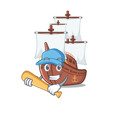 Playing baseball pirate ship isolated with the cartoon