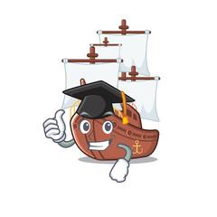 Graduation miniature pirate ship cartoon on table