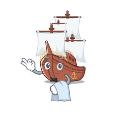 Waiter mascot shaped a pirate ship toys