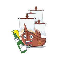 With beer pirate ship with the cartoon shape