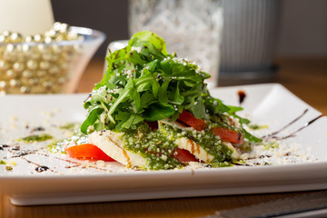 Fresh pesto salad on plate