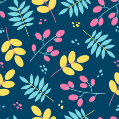 Seamless floral pattern tile in flat style. Nature background in yellow, pink, blue colors