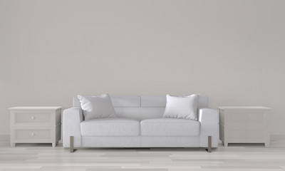 Mock up white room with white sofa on modern room interior.3D rendering