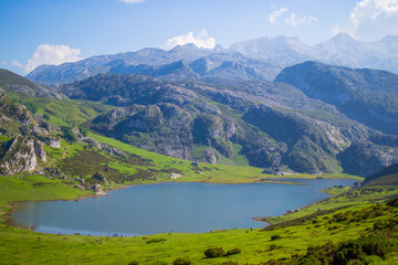 Nice views of Ercina Lake in Covadonga, Asturias, Spain. Green grassland with a glaciar lake and mountains at the background