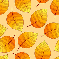 Autumn leaves seamless pattern. Autumn background vector image.