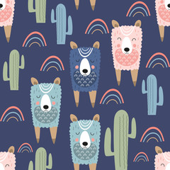 Childish seamless pattern with cute llama and cactus in Scandinavian style. Vector Illustration. Kids illustration for nursery design. Great for baby clothes, greeting card, wrapping paper.