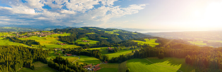 German pre-alps aerial panorama with Bodensee in the background
