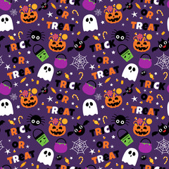Happy Halloween seamless pattern background set