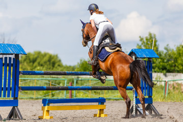 Horse rider woman on show jumping competition