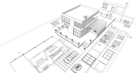house sketch project 3d illustration