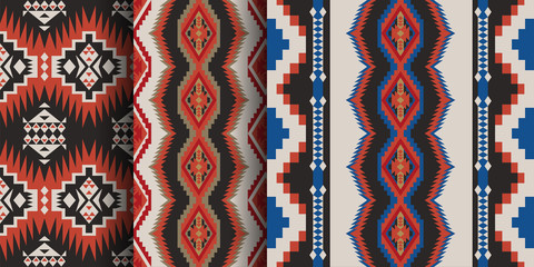 Set of Aztec geometric seamless patterns. Native American Southwest prints. Ethnic design wallpaper, fabric, cover, textile, rug, blanket.