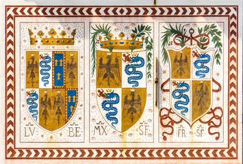 Coat of arms of House of Sforza at Sforzesco castle in Milan, Italy