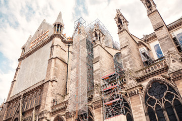 Work on the reconstruction of the Notre Dame De Paris building after the fire disaster in April 2019