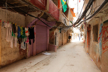 A poor neighborhood inside a Palestinian refugee camp in Lebanon