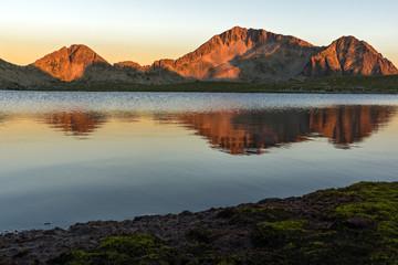 Sunset landscape of Tevno lake, Pirin Mountain, Bulgaria