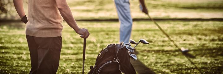 Dojrzali golfistów mężczyzna stoi na polu