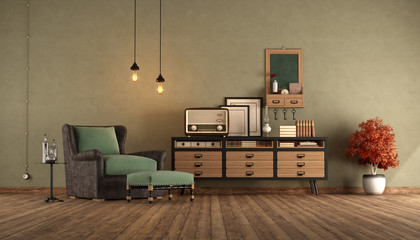 Reatro living room with armchair and sideboard