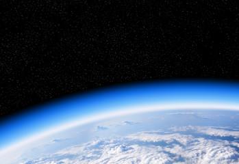 Warstwa ozonowa z kosmicznego widoku planety Ziemia