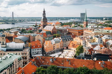 Riga old town panoramic view from St. Peter's Church observatory in Latvia