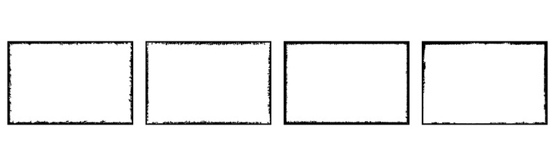 Set of grunge style frames black on white background