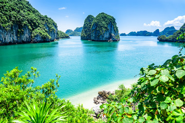 Bai tu long bay (Halong bay) rock karst formations in the sea, Vietnam landscape. Holiday tourist attraction.