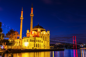 Ortakoy Mosque, a Grand Imperial Mosque in Istanbul, Turkey, evening view