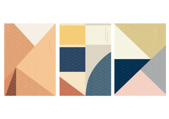 Geometric background with Japanese pattern vector. Triangle and square shape template.