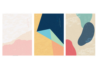Japanese template with abstract background. Wave pattern with shape elements.