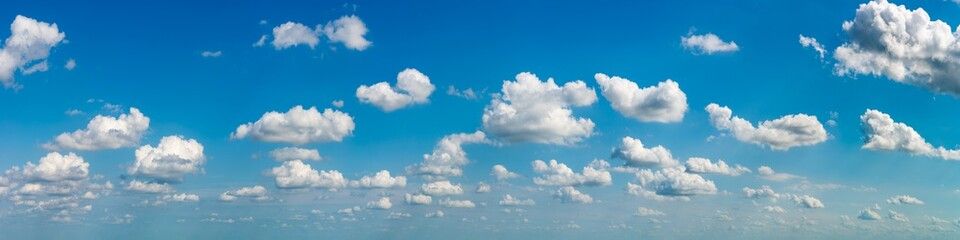 Fantastic soft clouds against blue sky, natural composition - panorama