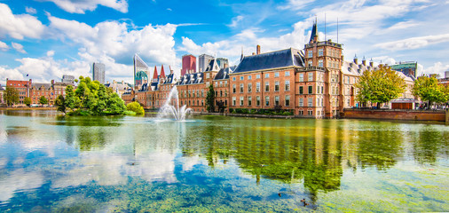 Panoramic landscape view in the city centre of The Hague (Den Haag), The Netherlands.
