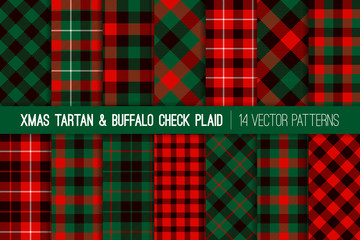 Christmas Red Green Black Tartan and Buffalo Check Plaid Vector Patterns. Rustic Xmas Backgrounds. Hipster Lumberjack Flannel Shirt Fabric Textures. Pattern Tile Swatches Included.