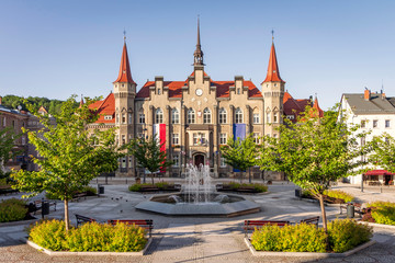 Walbrzych, Poland - picturesque neo-gothic town hall at Magistracki Square